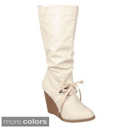 Journee Collection Women's 'Shima-1' Lace-up Detail Wedge Boots