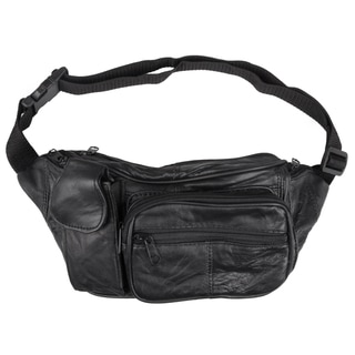 Journee Collection Women's Black Leather Fanny Pack