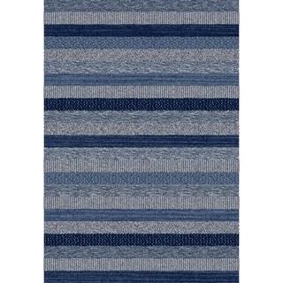 Eternity Striped Blue Rug (7'10 x 11'2)