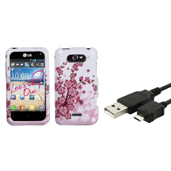 Insten Spring Flowers Phone Case Cover/ Micro USB Data Transfer Charging Cable Cord for LG Motion 4G MS770