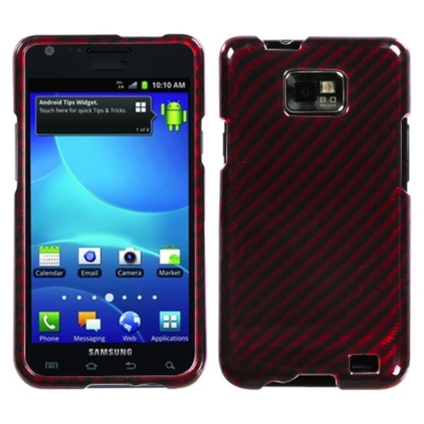 INSTEN Racing Fiber/ Red Silver Phone Case Cover for Samsung Galaxy S2 I777