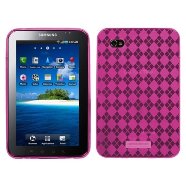 INSTEN Hot Pink Argyle Candy Skin Tablet Case Cover for Samsung Galaxy Tab P1000