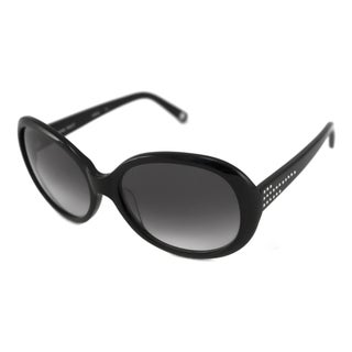 Nine West Women's NW503S Oval Black/Gray Sunglasses