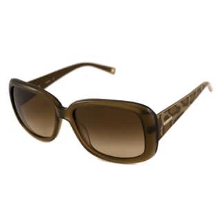 Nine West Women's NW510S Rectangular Crystal Brown/Brown Sunglasses