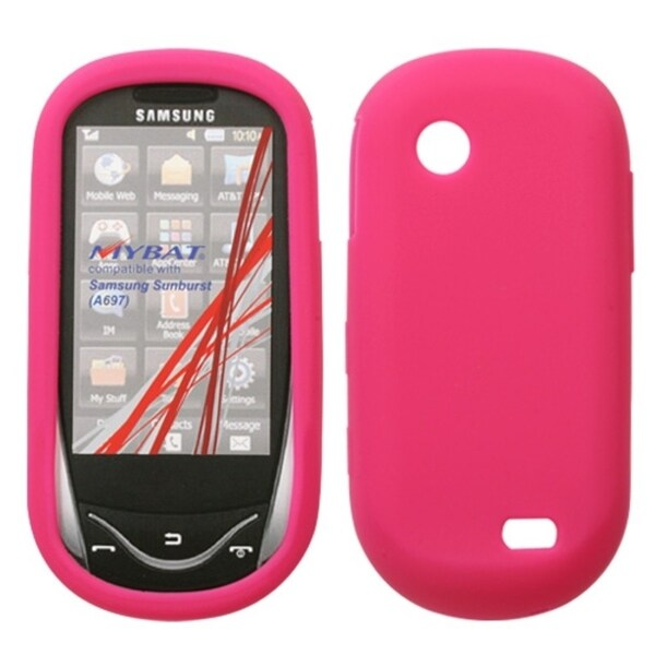 INSTEN Solid Hot Pink Skin Phone Case Cover for Samsung Sunburst A697