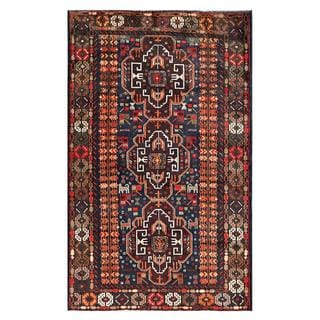 Afghan Hand-knotted Tribal Balouchi Navy/ Orange Wool Rug (3'6 x 5'7)