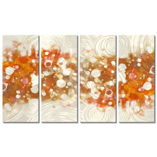 Christopher Price 'Drip Brokeh- Orange' Metal Wall Art