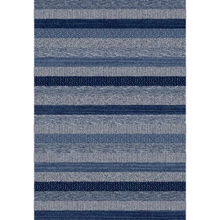Eternity Striped Blue Rug (6'7 x 9'6)