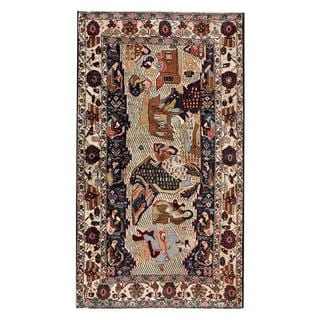 Afghan Hand-knotted Tribal Balouchi Biege/ Dark Brown Wool Rug (3'9 x 6'9)