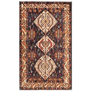 Afghan Hand-knotted Tribal Balouchi Navy/ Beige Wool Rug (4'2 x 7'1)