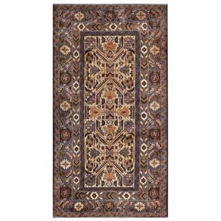 Afghan Hand-knotted Tribal Balouchi Grey/ Dark Brown Wool Rug (3'8 x 6'9)