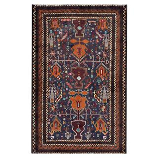 Afghan Hand-knotted Tribal Balouchi Dark Blue/ Rust Wool Rug (3'9 x 5'10)