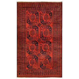 Afghan Hand-knotted Tribal Balouchi Red/ Dark Grey Wool Rug (3'6 x 6'1)