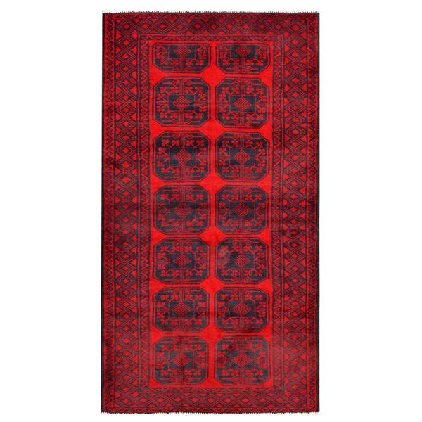 Afghan Hand-knotted Tribal Balouchi Red/ Grey Wool Rug (3'7 x 6'9)