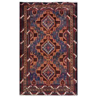 Afghan Hand-knotted Tribal Balouchi Dark Blue/ Brown Wool Rug (3'11 x 6'3)