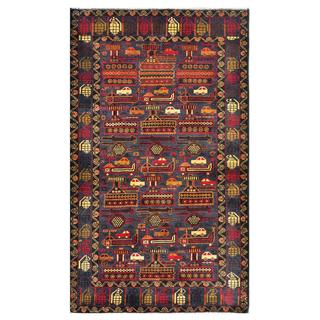 Afghan Hand-knotted Tribal Balouchi Grey/ Orange Wool Rug (3'10 x 6'6)