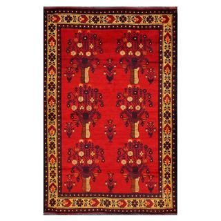Afghan Hand-knotted Tribal Balouchi Red/ Gold Wool Rug (4'3 x 6'7)