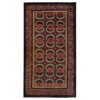 Herat Oriental Afghan Hand-knotted Tribal Balouchi Dark Grey/ Brown Wool Rug (3'8 x 6'9)