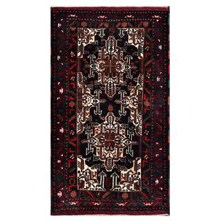 Afghan Hand-knotted Tribal Balouchi Black/ Ivory Wool Rug (3'9 x 6'5)