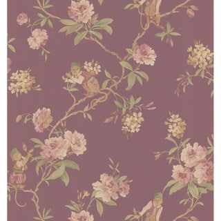Burgundy Monkey Floral Wallpaper