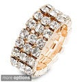 Goldtone or Silvertone Clear Crystal Eternity Stretch Band