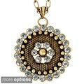 Goldtone or Silvertone Crystal-encrusted Medallion Necklace