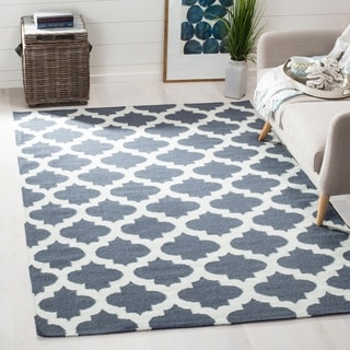 Safavieh Hand-woven Moroccan Reversible Dhurrie Blue Wool Rug (9' x 12')