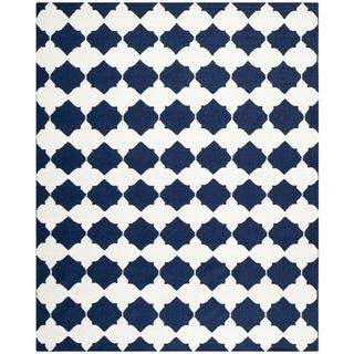 Safavieh Hand-woven Moroccan Reversible Dhurrie Navy Wool Rug (8' x 10')