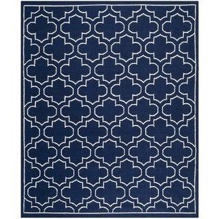 Safavieh Handwoven Moroccan Reversible Dhurrie Navy Wool Area Rug (8' x 10')