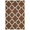 Safavieh Handmade Moroccan Cambridge Dark Brown/ Ivory Wool Rug (5' x 8')