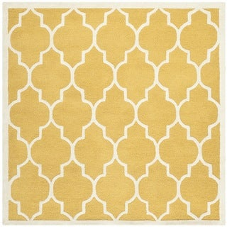 Safavieh Handmade Moroccan Cambridge Gold/ Ivory Wool Rug (6' Square)