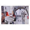 Olivia 'Paris at Night' Hand-painted Canvas Art