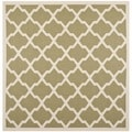 Safavieh Indoor/ Outdoor Courtyard Green/ Beige Geometric Rug (7'10 Square)
