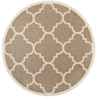 Safavieh Indoor/ Outdoor Courtyard Brown Rug (5'3 Round)