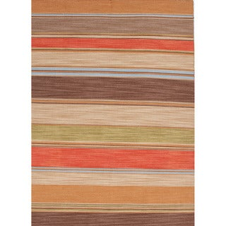 Rectangular Handmade Flat-weave Stripe-patterned Multicolor Rug (8' x 10')