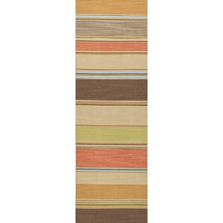 Handmade Flat Weave Stripe Pattern Multi Color Rug (2'6 x 8')