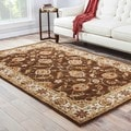 Hand-tufted Traditional Oriental Pattern Brown Rug (5' x 8')