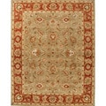 Hand-tufted Traditional Oriental Pattern Green Rug (4' x 8')