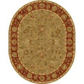 Hand-tufted Traditional Oriental Pattern Green Area Rug (8' x 10') Oval