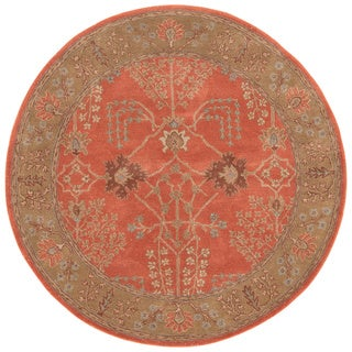 Hand-tufted Transitional Oriental Pattern Red/ Orange Rug (8' Round)