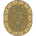 Hand-tufted Traditional Oriental Pattern Green Rug (8' x 10') Oval