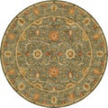 Hand-tufted Traditional Oriental Pattern Green Rug (8' Round)