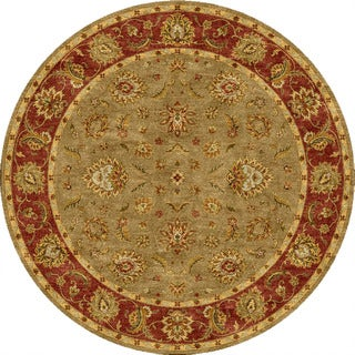 Hand-tufted Traditional Oriental Pattern Green Wool Rug (8' Round)