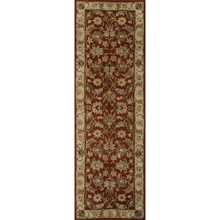 Hand-tufted Traditional Oriental Red/ Orange Rug (2'6 x 8')