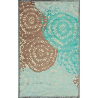 Contemporary Abstract Pattern Blue Rug (9' x 12')