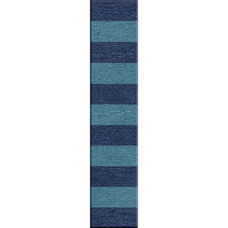 Handmade Flat Weave Stripe Pattern Blue Indoor Rug (2'6 x 8')