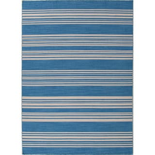 Handmade Flat Weave Stripe Pattern Durable Blue Rug (5' x 8')