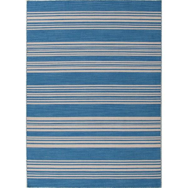 Handmade Flat Weave Stripe Pattern Durable Blue Rug (5' x 8')