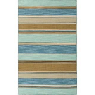 Flat Woven Blue Wool Rug 4 X 6 14043254 Overstock