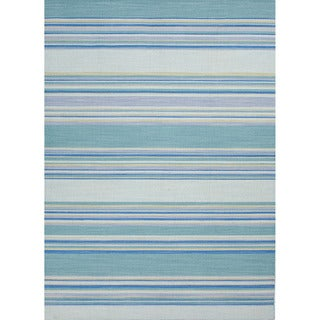 Handmade Flat Weave Stripe Pattern Reversible Blue Rug (4' x 6')